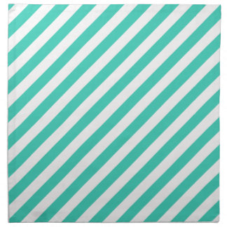 Teal and White Diagonal Stripes Pattern Napkin