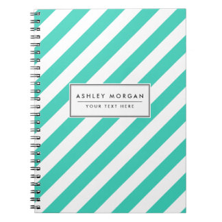 Teal and White Diagonal Stripes Pattern Notebooks