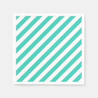 Teal and White Diagonal Stripes Pattern Paper Napkin