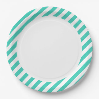 Teal and White Diagonal Stripes Pattern Paper Plate