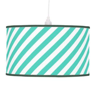 Teal and White Diagonal Stripes Pattern Pendant Lamp
