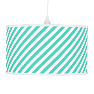 Teal and White Diagonal Stripes Pattern Pendant Lamp