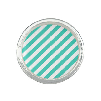 Teal and White Diagonal Stripes Pattern Photo Ring