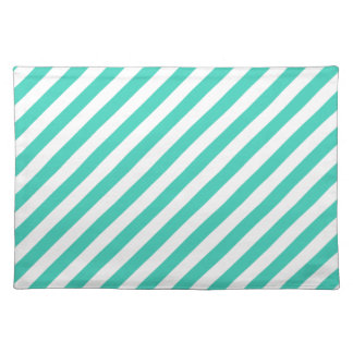 Teal and White Diagonal Stripes Pattern Placemat