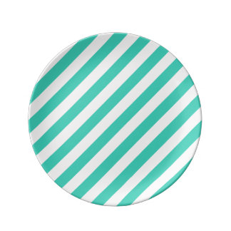Teal and White Diagonal Stripes Pattern Plate