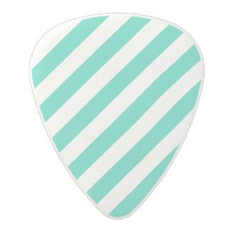 Teal and White Diagonal Stripes Pattern Polycarbonate Guitar Pick