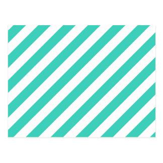 Teal and White Diagonal Stripes Pattern Postcard