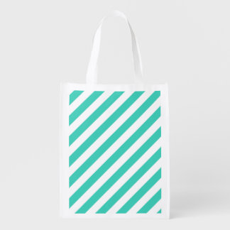Teal and White Diagonal Stripes Pattern Reusable Grocery Bag