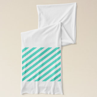 Teal and White Diagonal Stripes Pattern Scarf