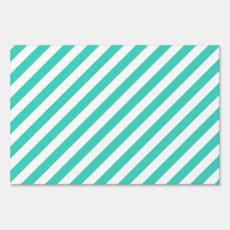Teal and White Diagonal Stripes Pattern Sign
