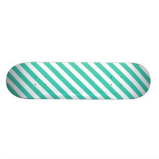 Teal and White Diagonal Stripes Pattern Skateboard