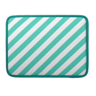Teal and White Diagonal Stripes Pattern Sleeve For MacBooks