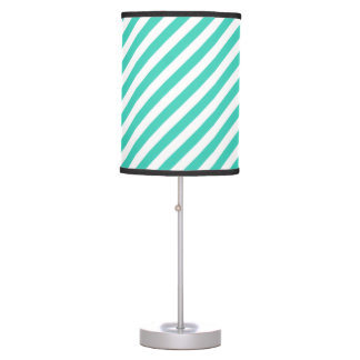 Teal and White Diagonal Stripes Pattern Table Lamp