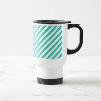 Teal and White Diagonal Stripes Pattern Travel Mug