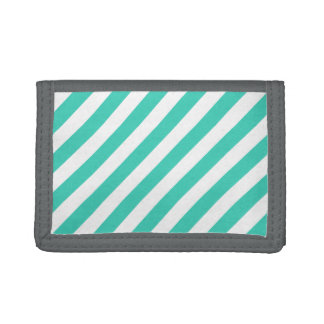 Teal and White Diagonal Stripes Pattern Trifold Wallet