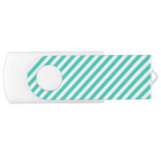 Teal and White Diagonal Stripes Pattern USB Flash Drive