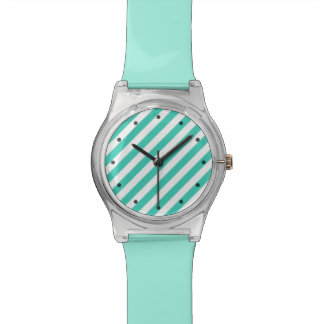 Teal and White Diagonal Stripes Pattern Watch