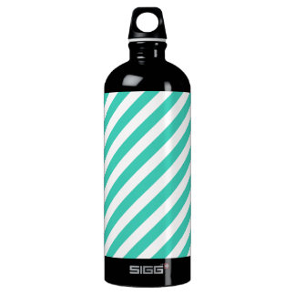 Teal and White Diagonal Stripes Pattern Water Bottle