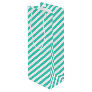 Teal and White Diagonal Stripes Pattern Wine Gift Bag