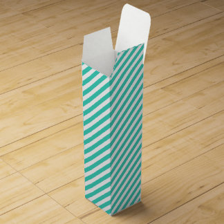 Teal and White Diagonal Stripes Pattern Wine Gift Box