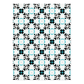 Teal and white flower design pattern postcard