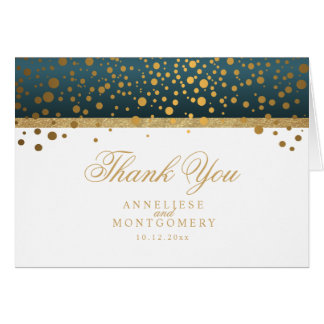 Teal and White Gold Confetti Dots - Thank You Card