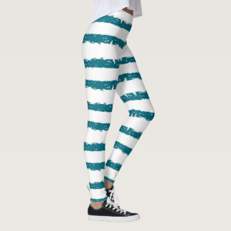 Teal and White Grunge Striped Abstract Leggings