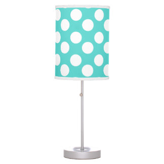 Teal and White Large Polka Dot Lamp