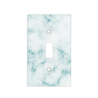 Teal and White Marble Light Switch Cover