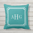 Teal and White Notched Corner Custom Monogram Throw Pillow