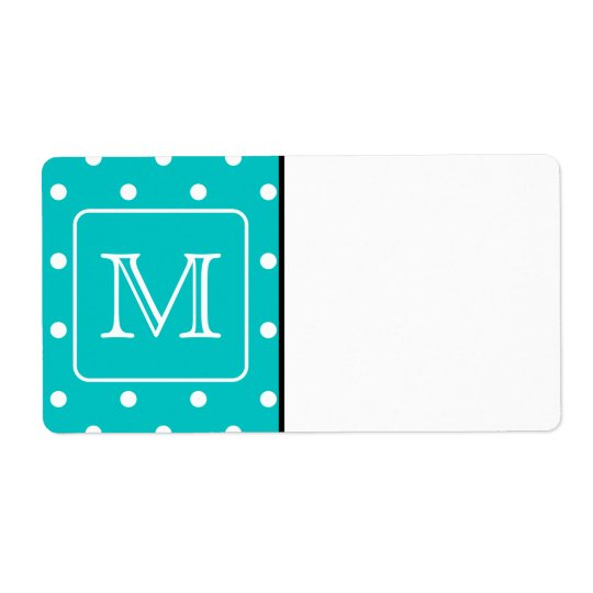 Teal and White Polka Dot Pattern. Custom Monogram. Shipping Label