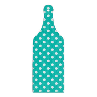Teal and White Polka Dot Pattern Cutting Boards