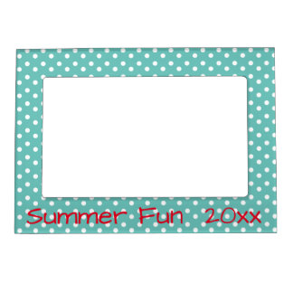Teal and White Polka Dots With Red Personalized Photo Frame Magnet
