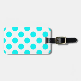 Teal and White Polkadots Luggage Tag
