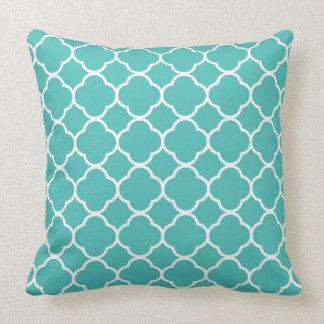 Teal and White Quatrefoil Throw Pillow Cushion