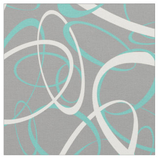 teal and white retro ovals any background color fabric