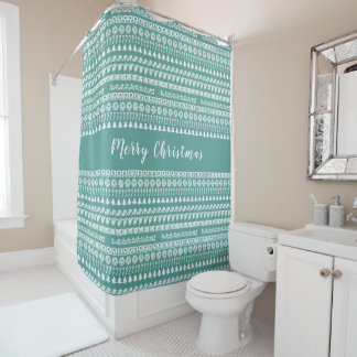 Teal and White Rows Christmas Picture Font Pattern