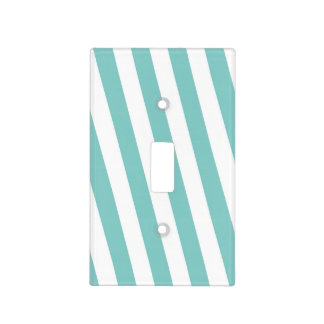Teal and White Stripes Light Switch Cover