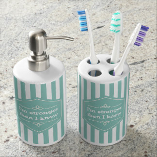 Teal and White Stripes Motivational Saying Bathroom Set