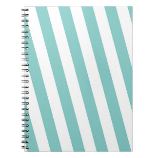 Teal and White Stripes Notebooks