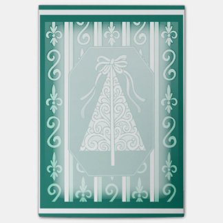Teal And White Swirls Stripes Christmas Tree Sticky Notes