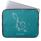 Teal and White Treble Clef Music Notes Laptop Sleeve