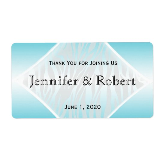 Teal and White Zebra Diamond Water Bottle Label