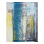 Teal and Yellow Abstract Art Poster Print