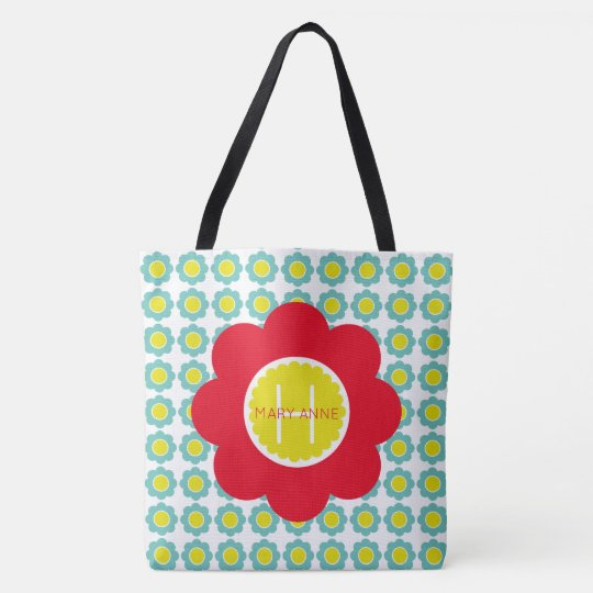 Teal and Yellow Flowers With Red Flower Monogram Tote Bag