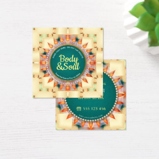 Teal and Yellow Geometric Mandala  Cute Square Square Business Card