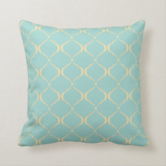 Teal and Yellow Moroccan Pattern Throw Pillow