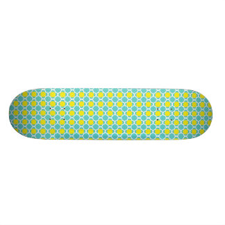 Teal and Yellow Trellis Design Skate Deck