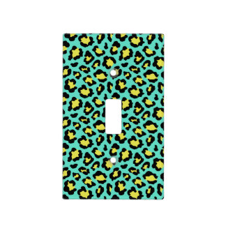 Teal Animal Print Leopard Light Switch Cover