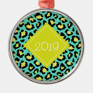 Teal Animal Print Metal Ornament